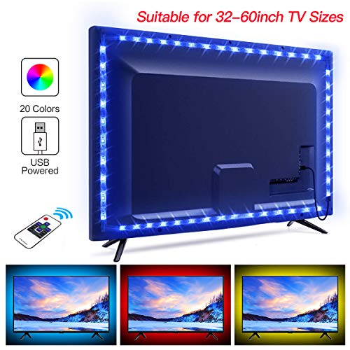 TV LED Backlight, Juhefa Color Changing USB Strip Lights for 32-60inch TV,Bias Lighting Kit with RF Remote & Strong Adhesive Tape for Home/Room/Kitchen Decor (RGB,6.56Ft)
