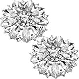 LUXVEER Removable Sparkle Rhinestone Silver Brooch Clips Shoe Decoration Charms for Wedding Bridal Prom Shoes-Crystals 2 Pack
