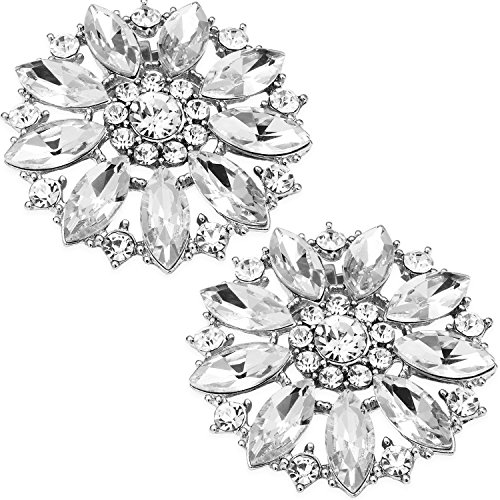 LUXVEER Removable Sparkle Rhinestone Silver Brooch Clips Shoe Decoration Charms for Wedding Bridal Prom Shoes-Crystals 2 Pack (Rhinestone Shoe Clips)