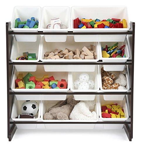 tot tutors kids 39 toy storage organizer with 12 plastic bins espresso white espresso collection. Black Bedroom Furniture Sets. Home Design Ideas