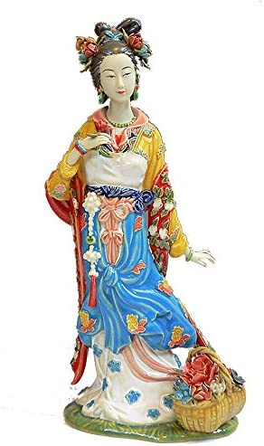 """Chinese Traditional Lady Beauty Plays Pipa Instrument Porcelain Figurine 10/""""H"""