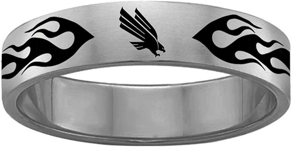 College Jewelry Flame Design University of North Texas Mean Green Eagles Rings Stainless Steel 8MM Wide Ring Band