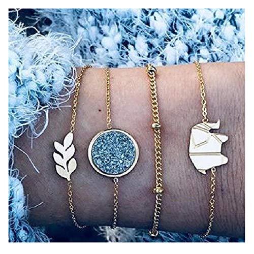 30 Style Boho Bangle Heart Shell Star Moon Bow Map Crystal Bead Bracelet Women Charm,012 -