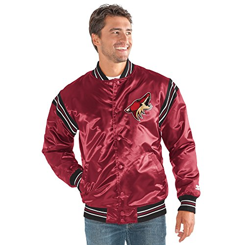 STARTER NHL Arizona Coyotes Men's The Enforcer Satin Jacket, Large, Cardinal