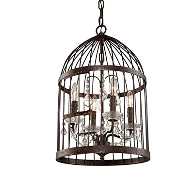 Bird Cage Chandelier Foyer Pendant , Iron Steel Frame Antique Rustic 4 Lights Lamp Crystal Drops, 14 Inches Burbank