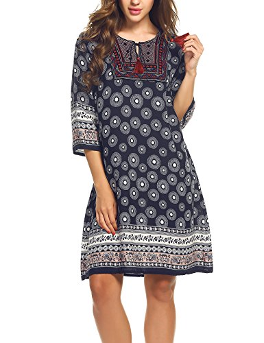 Boho-Chic Vacation & Fall Looks - Standard & Plus Size Styless - Beyove Women's Sexy V Neck Bohemian Print Loose Shift Dress Navy Blue M