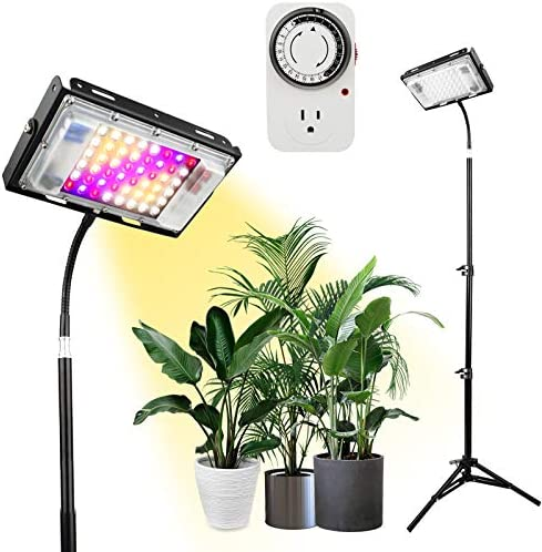 Grow Lights with Stand, Lordem Full Spectrum 150W LED Floor Plant Light for Indoor Plants,Timing 1-24H,Tripod Adjustable 18-47 inch