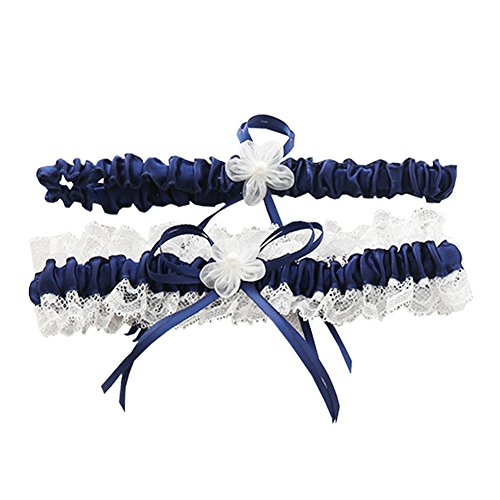 Toss Wedding Garter Set - Rimobul Lace Wedding Garters with Toss Away - Set of 2 (Royal Blue)