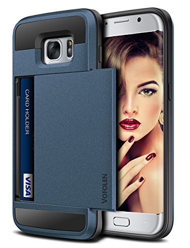 Dual Pocket Case - Vofolen Upgraded Case for Galaxy S7 Case Wallet Card Holder Slot Pocket Sliding Cover Dual Layer Hybrid Shield Shockproof Anti-scratch Protective Hard Shell Tough Bumper Armor for Galaxy S7 Matte Navy