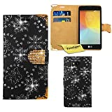 LG Tribute Case LS660 / LG Optimus F60 Case, FoneExpert® Bling Luxury Diamond Leather Wallet Book Case Cover For LG Tribute LS660 / LG Optimus F60 + Screen Protector & Cloth (Black)