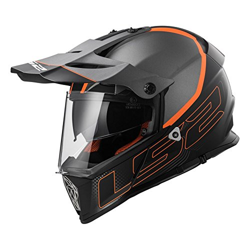 Elements Helmet (LS2 Helmets Element Unisex-Adult Full-Face-Helmet-Style Pioneer Helmet (Grey/Orange, Medium))