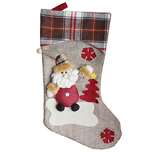 Christmas Stocking,Snowman, Reindeer, Xmas Character 3D Plush with Faux Fur Cuff Christmas Decorations Candy Bag (A)