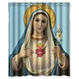 Shower Curtains Renaissance Collection,Jesus Catholic Christian Religious Gift Holy and Miraculous Virgin Mary,Our Lady of Grace,the Blessed Mother decor 100% Polyester 60