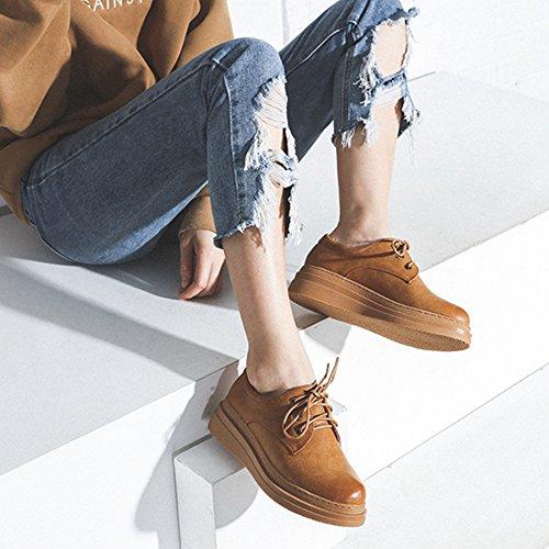 T-juli Kvinna Mode Oxfords Skor - Bekväma Snörning Tjock Sula Rund Tå Retro Skor Brun