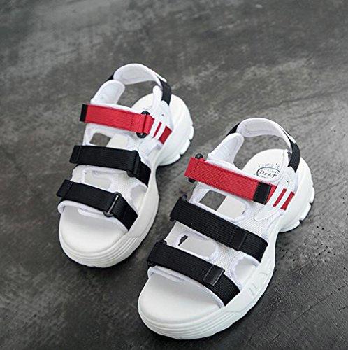 Para La White Al Zapatos Caminar Sandalias Las Gruesas Playa Ocasionales Dedo Pie Fondo Aire Planos Señoras De Abierto Del Verano Los Twgdh Calzado Deportes Libre 1UqSSv