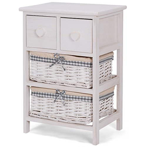2 Wicker Open-shelf Baskets Bedside Chest Cabinet Nightstand - By Choice Products (Unit Wicker Storage Drawer 6)