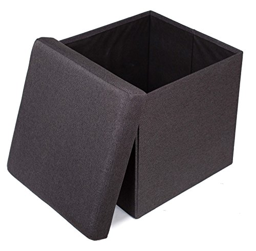 Folding Storage Ottoman | Upholstered | 16 x 16 | Linen | Strong and Sturdy | Quick and Easy Assembly | Foot Stool | Black