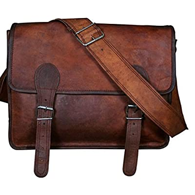 high-quality Right Choice Genuine Leather Messenger Bag Men Leather Laptop Bag Macbook Satchel School Bag Office Rugged15X11X4 Brown
