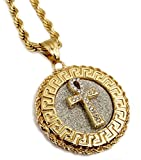 Exo Jewel 18k Gold Plated Egyptian Ankh Cross Medallion Pendant Necklace with 24'' Stainless Steel Rope Chain