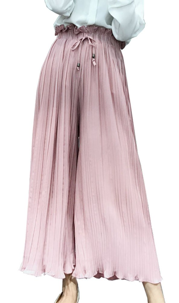 Gihuo Women's Chiffon Accordion Fine Pleated Elastic Waist Wide Leg Fluttering Cropped Culottes Pants (Pink, One Size)