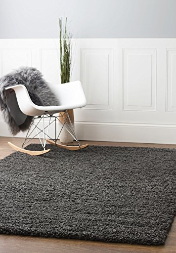 Dark Grey Shag Rug, 8-Feet by 10-Feet, 8x10 Solid & Thick Stain-Resistant Non-Shed Living Room Carpet - Charcoal 8x10 Area