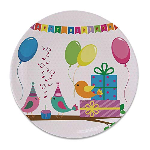 (YOLIYANA Birthday Decorations for Kids Round Ceramic Decorative Plate,Singing Birds Happy Birthday Song Flags Cone Hats Party Cake for Table Or Wall,7 inch)