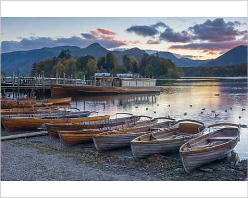Robert Harding 10x8 Print of Rowing boats for hire, Keswick, Derwentwater, Lake District National Park (Keswick Boat)