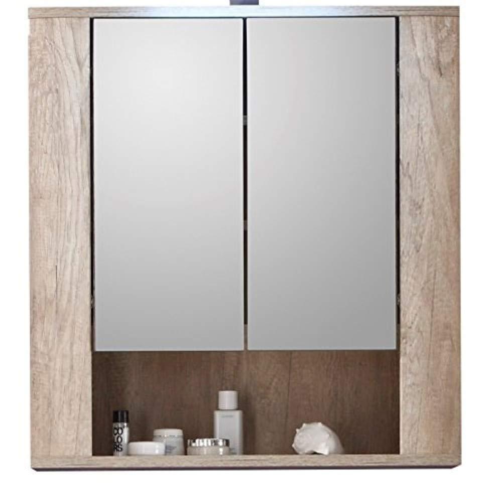 Trendteam Bagno Armadio a specchio Specchio Star, 70 x 75 x 22 cm in quercia decorativa, sospensione Touchwood marrone scuro senza illuminazione 1408-503-26