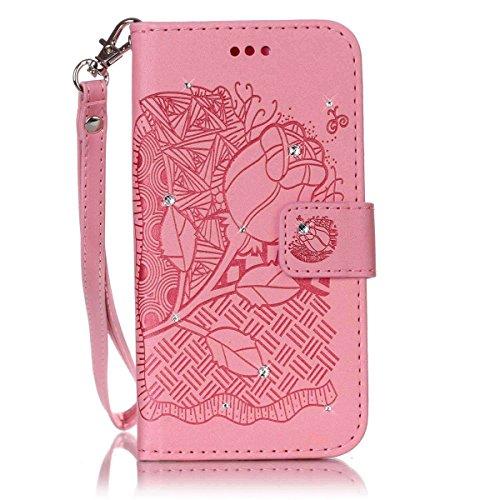 Funda iPhone 6S Plus, Carcasa Plegable para iPhone 6S Plus, Funda de piel iPhone 6 Plus, Lifetrut Sólido Shiny Sparkle libro de estilo funda de cuero con ranura para tarjetas de cierre magnético sopor E204-Rose Flor en rosa