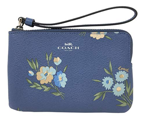 (Coach Coated Canvas Small Corner Zip Wristlet in a Tossed Daisy Print Periwinkle Multi F73363)
