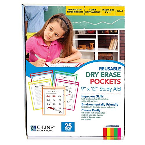 C-Line Reusable Dry Erase Pockets, 9 x 12 Inches, Assorted Neon Colors, 25 Pockets per Pack (40820)