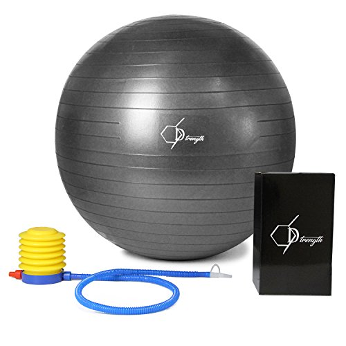 Exercise Ball | Professionally Tested | 660 lb Anti Burst & Anti Slip | Strength Yoga & Pilates | Home Gym | Active Office Work Desk Chair | Includes Pump | Eco Friendly | 55 65cm