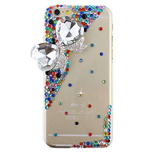 "EVTECH (TM) Coque 3D Bling Strass Case Transparent Back Cover Cristal Etui Housse Hard Coque pour iPhone 6 4,7"" (2014)"