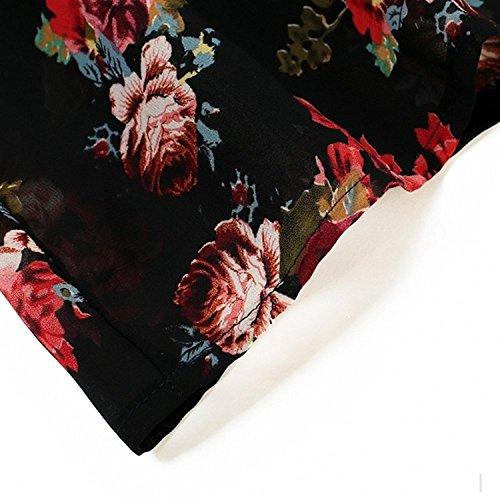 Femmes Walant Floral Été Couverture Imprimée En Maillot De Bain Robe Noire Plage