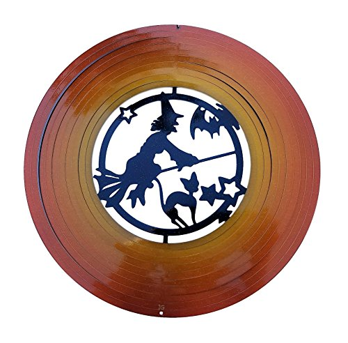 Halloween Witch Orange & Black Garden Wind Spinner, Outdoor Décor 12 inch -