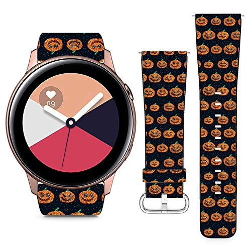 Compatible with Samsung Galaxy Watch Active // 20mm Leather Replacement Bracelet Strap Wristband with Quick Release Pins // Halloween Pixel -