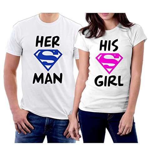Matching Her Superman His Supergirl Couple T-Shirts Men S/Women M White