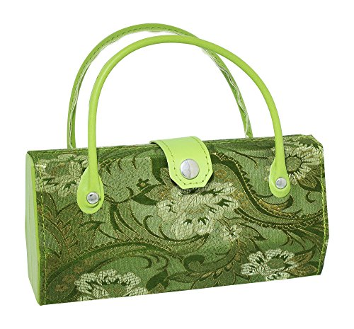 Asian Silk Brocade Style Eyeglass Case Mini Handbag Design Inner Mirror Sage