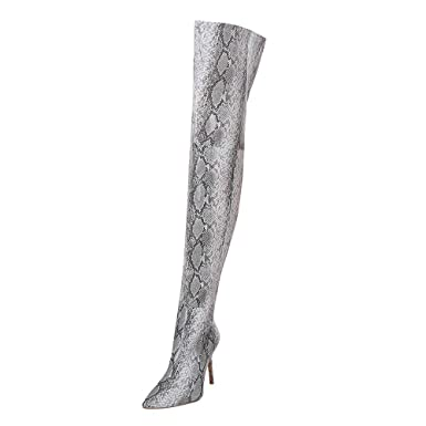 e528c39ff72 DENER❤ Women Thigh High Tall Boots, Leather Snakeskin Stretch ...