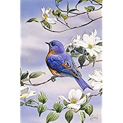 Toland Home Garden Bluebird and Dogwood 12.5 x 18 Inch Decorative Spring Bird Tree Flower Garden Flag