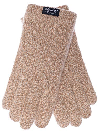 Cables Beige Thermal - EEM ladies knit gloves FREYA with Thinsulate thermal lining and cable pattern, 100% wool, beige M