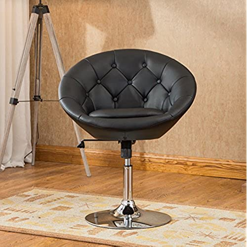 Roundhill Furniture Naos Contemporary Round Tufted Back Tilt Swivel Accent  Chair, Black