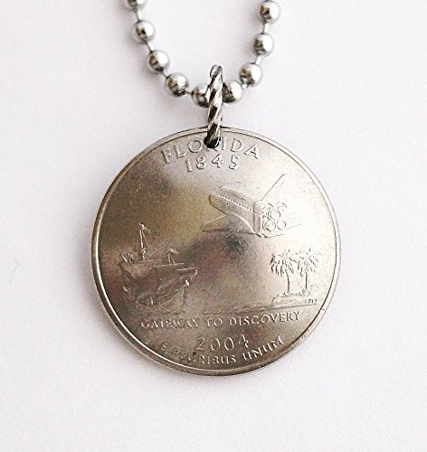 Domed Coin Necklace Florida State Quarter Commemorative Space Shuttle Pendant 2004