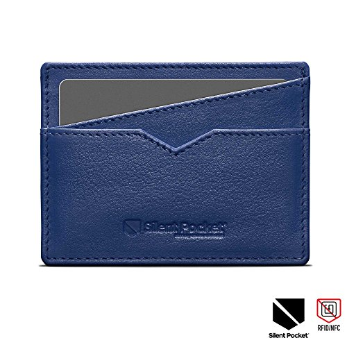 Silent Pocket Napa Leather RFID Blocking Simple Card Wallet (Light Blue)