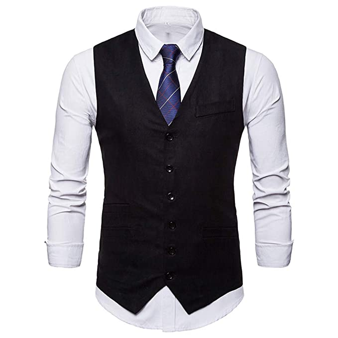 Waistcoat Vest for Men, iOPQO Business Tuxedo Vest Suits ...