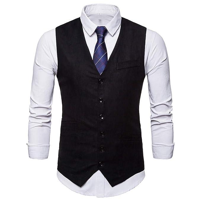 58ecd9909d Elegante Chalecos Hombre Vestir Casual Negocio Boda Slim Fit Traje Blazers  Sin Mangas STRIR  Amazon.es  Ropa y accesorios