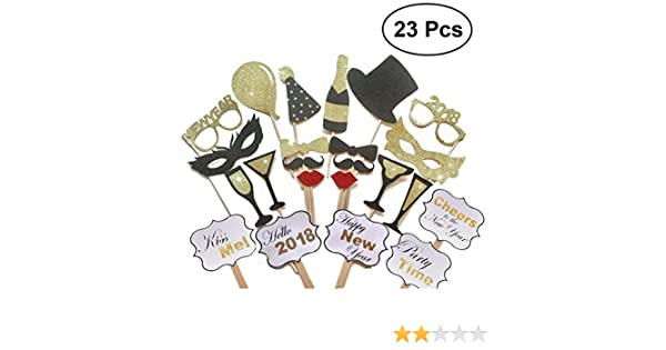 Amazon.com : LUOEM 2018 New Year Party Photo Booth Props on a Stick Posing Props Kit for Party Celebration ,Pack of 23 : Camera & Photo