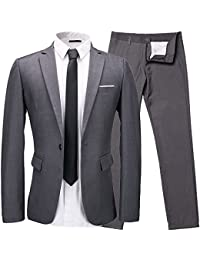 Men's 2-Piece Suit One Button Single Breasted Slim Fit Dress Suit Jackets & Trousers