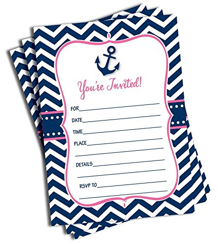 50 Pink Nautical Invitations and Envelopes (Large Size 5x7)