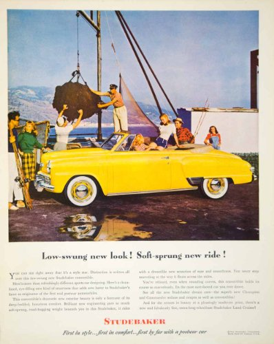 1948 Ad Studebaker Convertible Automobile Yellow Car Whitewall Tires Champion - Original Print Ad from PeriodPaper LLC-Collectible Original Print Archive